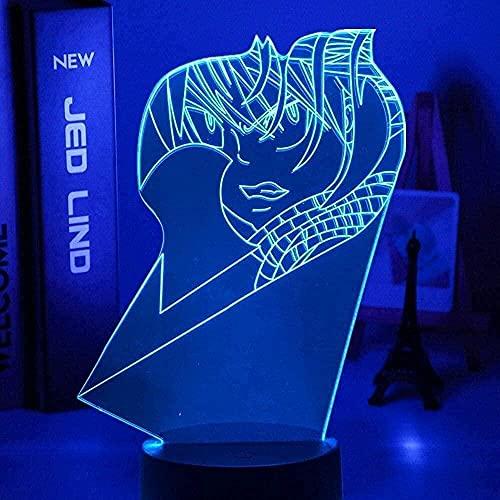 ZSBoBo Fairy Tail Natsu Dragneel LED Nachtlicht Für Kinder Schlafzimmer Dekor Geburtstagsgeschenk Luz Nocturna Anime Mesa Lámpara 3D Natsu Fairy Tail Control Remoto
