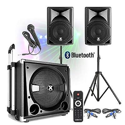"VONYX Active Powered PA Speaker Sound System for Mobile DJ Disco Setup 15"" Subwoofer"