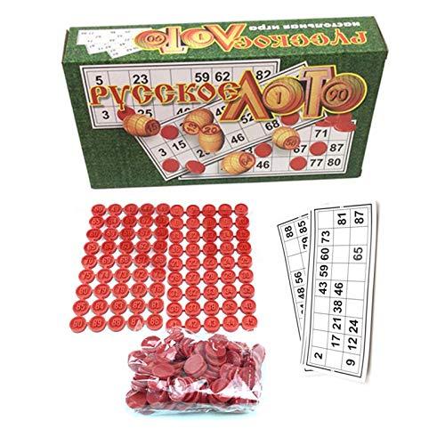 Hangarone Juego de bingo ruso souvenirs ruso juego de mesa para familias, juego de tambola, kit de plástico Loteria, tarjetas de bingo, fichas de juguete