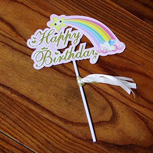 WFAL voordelige Rainbow Cake Topper Creatieve Cupcake Dessert Topper Regenboog Ontwerp Cake Pick Cake Regenboog Kaart