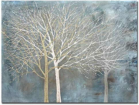 Boieesen Art 30x40Inch Modern Hand Painted Abstract Tree Wall Art Blue Grey White Oil Paintings product image