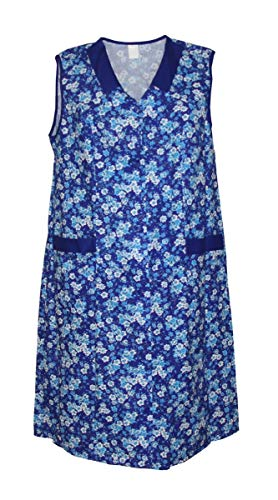 Damenkittel Baumwolle Hauskleid ohne Arm Kittel Schürze bunt, Größe:42, Modell:Modell 2