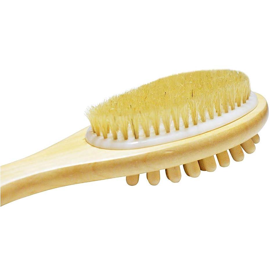 ペットの前で浮浪者TOPBATHY 長いハンドルが付いている木の二重味方された浴室のシャワーの剛毛のブラシのマッサージボディブラシ