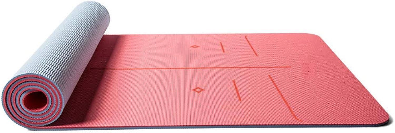 Baibian TPE Yoga-Matte Rutschfeste 183  66 cm  8 mm dick für Anfnger Fitness übung heie Pilates Training Camping Pad Bunte weiche Matten,Pfirsichrot