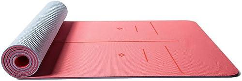 Baibian Tapis de Yoga TPE antidérapant 183  66 cm  8 mm d'épaisseur pour débutant de Remise en Forme Exercice Chaud Pad d'entraînement de Camping d'entraînement Tapis Couleuré Doux,Pêche Rouge