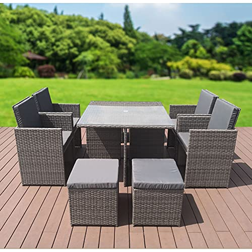 GardenCo Cube Garden Furniture Set - Ready Assembled 8 Seat Outdoor Rattan Furniture Set - Weatherproof Cover - 4 Chairs 4 Stools and Table - All Weather Grey Rattan