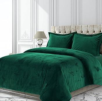 Tribeca Living VENICEDUVETKIEG Venice Velvet Oversized Solid Duvet Set King Emerald Green