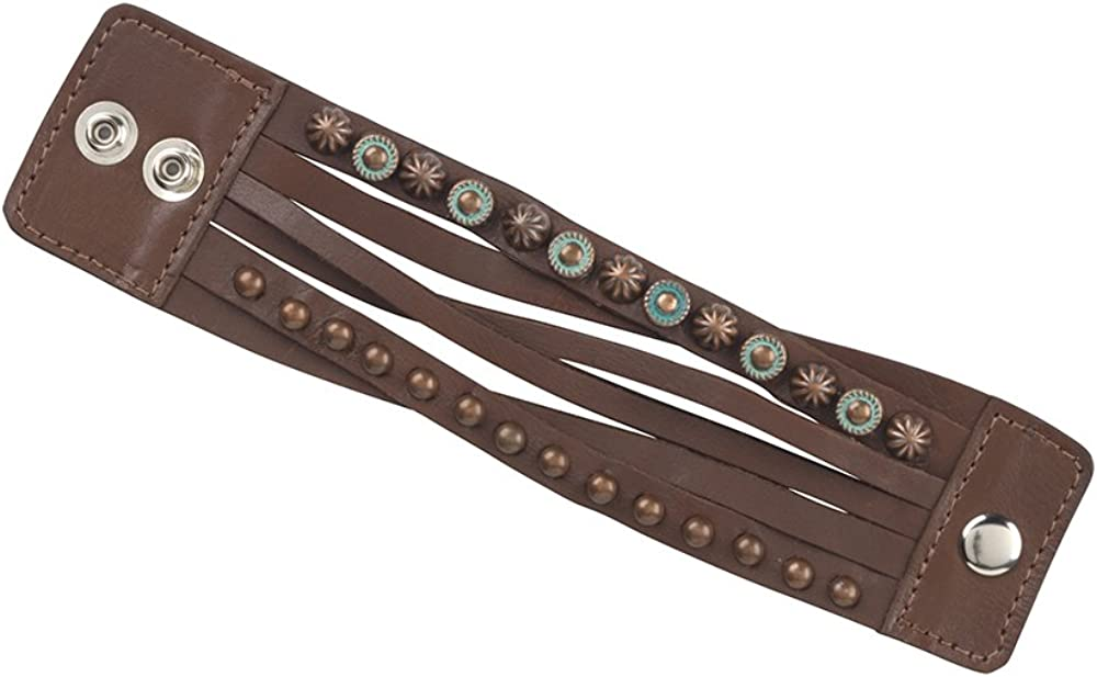 American West Wide Leather Layered Cuff Bracelet w/Copper Spots -Chestnut Brown