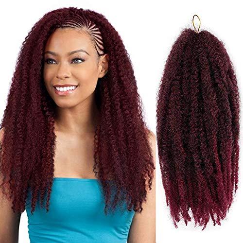 AISI BEAUTY Marley Braiding Hair Synthetic Afro Kinky Twist Crochet Hair Mixed Color Twist Crochet Braids Synthetic Marley Hair for Twists 3 Packs/Lot (18'' T1B-BUG)