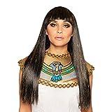 NET TOYS Peluca de Cabello Largo Reina de Egipto - Marrón-Dorado - Majestuoso Accesorio Disfraz Peluca de Cleopatra con Flequillo para Dama - Ideal para Carnaval y Fiesta de Disfraces