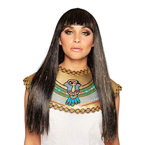 NET TOYS Edle Langhaar-Perücke Ägyptische Königin - Braun-Gold - Majestätisches Damen-Kostüm-Zubehör Cleopatra Perücke mit Pony - Genau richtig für Karneval & Kostümfest