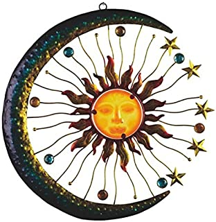 Sun And Moon Decor Metal Outdoor Wall Plaque Art Sculpture With Acrylic Center For Inside Home Or Outside Decoration Patio...