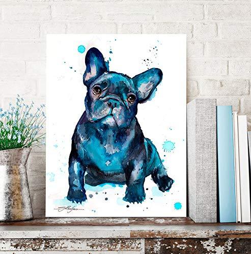 WALL CANVAS ART FOR BEDROOM,living room art,farmhouse decor,Black French Bulldog Baby watercolor painting,art,animal,illustration,home decor,gift,dog art,12''x18'' Framed Modern Canvas Wall Art,