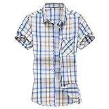 ワイシャツ チック柄 カットソー インナーシャツ 抗菌防臭 スリムフィット 半袖 ビジネスシャツ メンズ トップス Tシャツカットソー シンプル ボタンダウンシャツ プライマーシャツ スキンフィットシャツ 定番 ベーシック (イエロー/L)