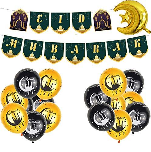 Globos de látex Eid Mubarak de 12 pulgadas + globos de papel de aluminio Eid Mubarak + decoración de pancarta Eid Mubarak, suministros para fiestas de Ramadán Mubarak para Eid Al Fitr y Eid Al Adha