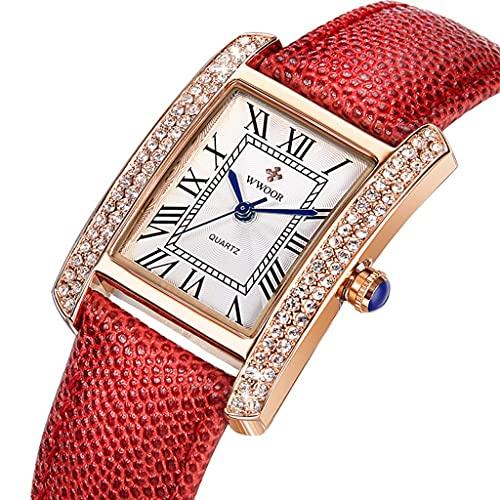 Reloj de Mujeres, Adecuado para Damas, Estudiantes, Impermeables en la Vida Diaria, Correa de Cuero, se Puede Dar a la Esposa, Amante, Novia (Color : Red)