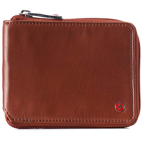 Alpine Swiss Logan Zipper Bifold Wallet For Men or Women RFID Safe Comes in a Gift Box Tan