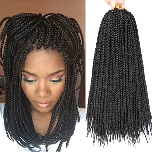 7 Packs 14 Inch Medium Box Braids Crochet Hair Extensions Synthetic Hair Crochet Braids Kanekalon Jumpo Braiding Hair 20 Strands/pack (14 Inch, 1B)