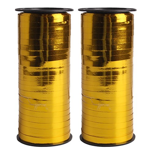 Andux Zone Golden Ballon Curling Ribbon / Ballon String / Geschenkverpackung / DIY Zubehör 100m, 5mmWide Pack2 JSCD-01
