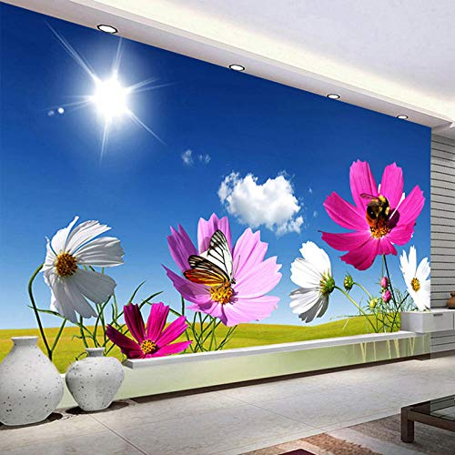 Papel tapiz mural personalizado con foto cielo azul nubes blancas sol flor pintura de pared sala de estar revestimiento de paredes fondo 3D