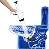 FriedenDT White Air Pressure Plunger Kits,Air Drain Blaster Gun High Pressure with Replaceable Heads,Detachable Assembly Sewer Toilet Kitchen Sink for Clogged Toilet and Kitchen Bathroom Tubs
