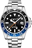 Stuhrling Original Herren Edelstahl Dreireihiges Armband GMT Uhr - Schweizer Quarz, Dual Time,...