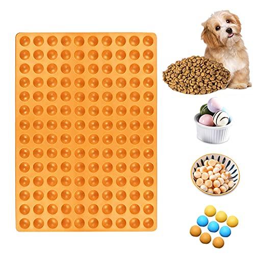 KOIROI Alfombrilla de Silicona para Hornear Galletas para Perros, 2 cm, semiesférica, Molde de Silicona para Galletas y golosinas para Perros, Forma de Bombones, Base para Hornear (Naranja)