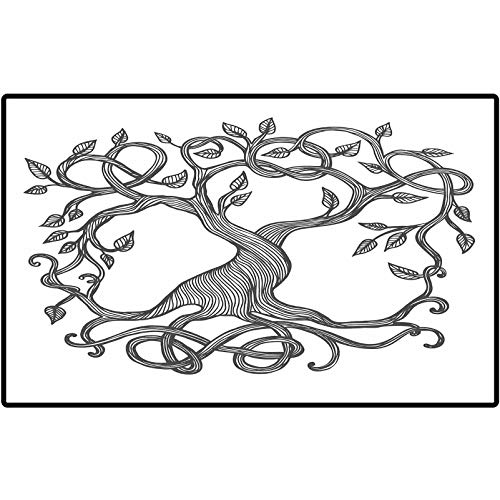 Custom Indoor Doormat Celtic Sketchy Figure of A Single Celtic Tree of Life with Swirly Long Branches and Roots Rubber Back Non Slip Door Mat Entrance Rug Shoe Scraper 48x30