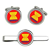 Giftshop UK Association-of-Southeast-Asian-Nations-Asean Boutons de Manchettes et Pince à Cravate Ensemble