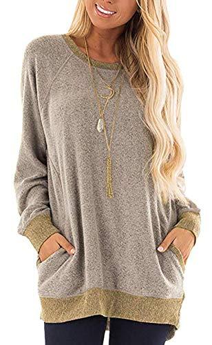 Etyepoh Damen Langarmshirt Lose Rundhals Pullover Tunika Asymmetrisch Sweatshirt Oberteile (B-Khaki, XL)