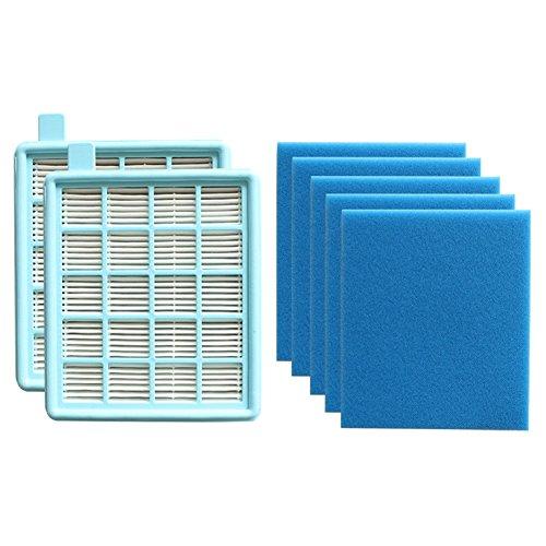 2x HEPA échappement D/'Air-Filtre pour Philips PowerPro  Compact fc8477//91 fc9324//09