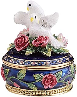 Keren Kopal Blue Trinket Box with White Doves and Roses Romantic Valentines Gift