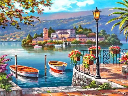 ZXXGA 5D Diamond Painting Kits For Adults Large,Seaside Town Diamond Painting 40X50Cm,Diamond Embroidery Paintings Cross Stitch Art Crafts For Home Wall Decor Adults And Kids