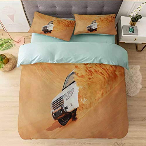 Microfiber Washed Crinkle Duvet Cover, Suv Truck Pick Up Big Car with Huge Wheels Driving through th, 100% Washed Microfiber 3pcs Bedding Duvet Cover Set,Soft and Breathable with Zipper Closure & Corn