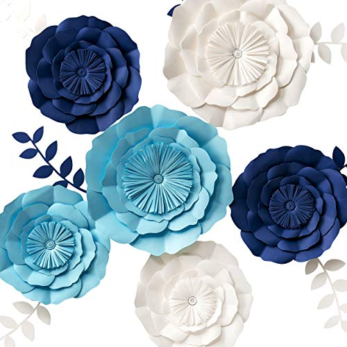 3D Paper Flowers Decorations, Giant Paper Flowers, Large Handcrafted Paper Flowers (Navy Blue, Beige, Aqua Blue, Set of 6) for Wedding Backdrop, Bridal Shower, Baby Shower, Nursery Wall Decor
