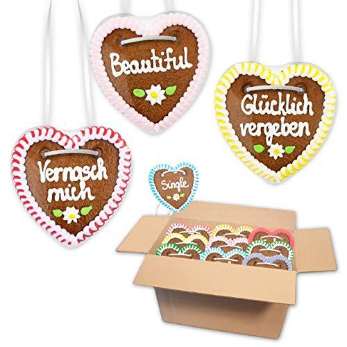 10 Stück Premium - Lebkuchenherz im Mischkarton - 10cm - versch. Flirt Sprüche | saftigte Lebkuchenherzen frisch gebacken | Kleine Lebkuchenherzen | Lebkuchen Herz bestellen von LEBKUCHEN WELT
