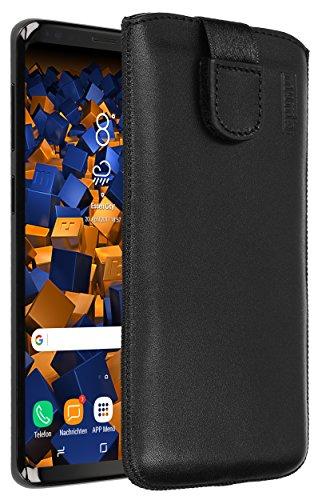 mumbi Echt Ledertasche kompatibel mit Samsung Galaxy S9 Hülle Leder Tasche Case Wallet, schwarz