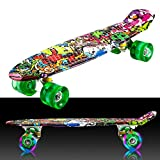 WeSkate Skateboard Completo 55x14 cm con Ruedas de Luces LED de Colores Mini Patineta Retro Cruiser para Niños, Niños, Jóvenes, Principiantes