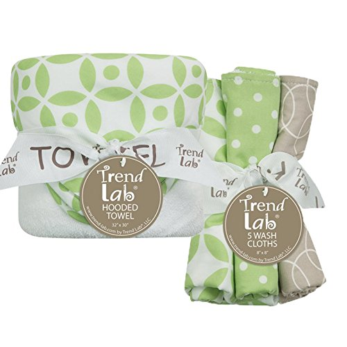 Trend Lab Hooded Towel and 5 Pack Wash Cloth Set, Lauren