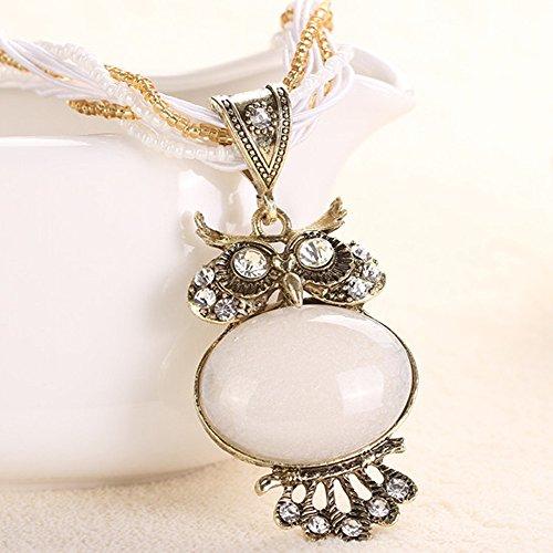 Hniunew Kreative Halsketten AnhäNger Damen Tier Kette Schmuck Retro Indian Ethnic Boho Statement Perlen Quaste Halskette Trendy BöHmische Eule ZubehöR Geschenke Modeschmuck