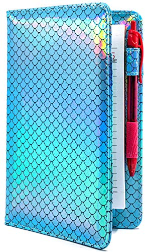 Industry Night Blue Mermaid Tail Server Book Waitress Organizer | Cute Holographic Mermaid 5x8 Order Pad Holder