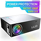 UUO Native 1080P Projector 6000 Lux Led Projector,Support 4K HD Video 300' Display Zoom ±50° Digital Keystone,Compatible with TV Stick,PS4,X-Box,Laptop,iPhone Android for Home Theater (Brushed Silver)