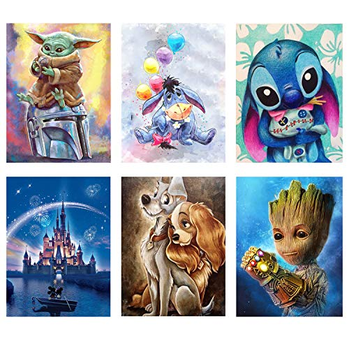 6 Pack 5d Diamond Painting Kits for Adults,DIY Full Drill Diamond Art Kits Paint with Diamonds Crystal Rhinestone Cross Stitch Cartoon Picture Arts and Crafts for Beginners Kids (9.8 X 13.8 Inch)