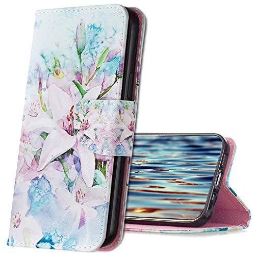 MRSTER Funda Xiaomi Mi A3, PU Cuero Flip Folio Billetera Carcasa [Kickstand] [Ranura para Tarjeta] [Cierre magnético] Protectora Funda para Xiaomi Mi A3 / Mi CC9e. HX2 Lily Flower