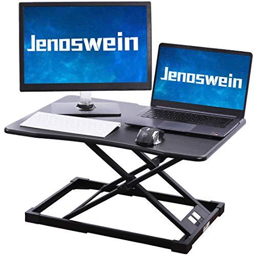 JENOSWEIN Standing Desk Converter with Height AdjustableSitto Stand Gas Spring Tabletop MonitorRiser Office Workstation