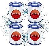 KHDFID Cartuchos de filtro para piscina tipo II, cartuchos de filtro Flowclear para Bestway 58094, cartucho de filtro II, filtro eficiente para limpieza de piscinas (paquete de 4)