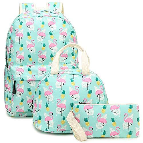 YIMENLR Kids School Bag with Lunch Box Pen Case Girls, Flamingo Primary School Backpack Children's Meal Bag 3Ps