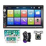 Camecho Bluetooth Autoradio 2 din 7'' à écran Tactile Lecteur MP5 Radio FM iOS téléphone Android Lien Miroir avec AUX Double Port USB SD + Caméra de Recul