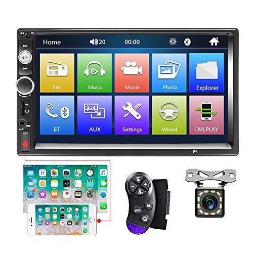 Bluetooth Autoradio2 DIN 7 Zoll Touchscreen MP5-Player, FM-Radio, iOS/Android, Spiegelverbindung mit Dual-USB-SD-AUX-In-Port, Rückfahrkamera und Lenkradsteuerung