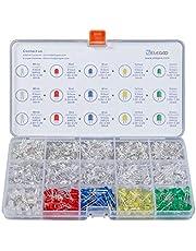 ELEGOO 3mm y 5mm Diffused y Clear Assorted LED Diodos Kit 5 Colores para Arduino (Paquete de 600)